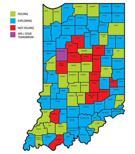 Indiana Counties issuing same-sex marriage licenses