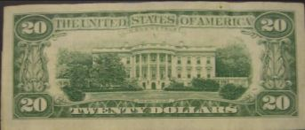 Back of $20 bill, after the White House renovations.