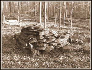 A stone pile from an unknown era shows evidence of deliberate stacking.  But with what intent?  Little Mulberry Park, Gwinnett County, GA.