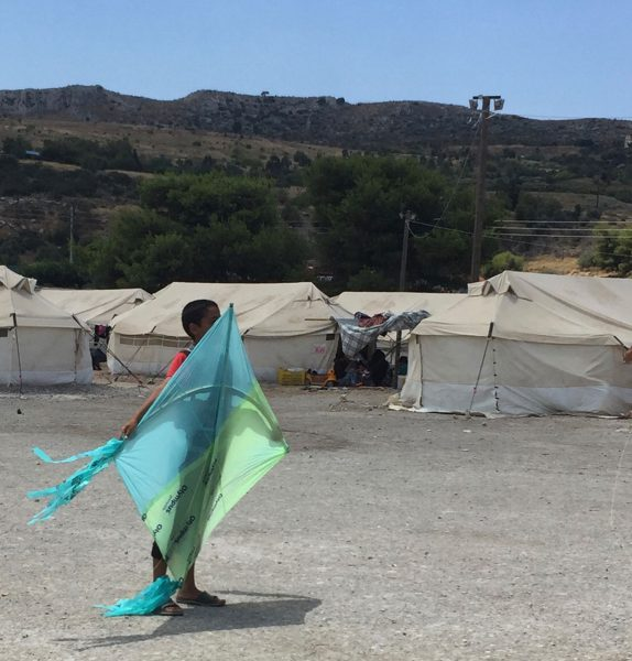 A boy in an Athens refugee camp, and his kite. (Alexandra Markovich)