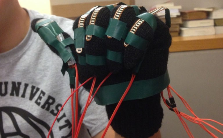 glove with wires for human-computer interface