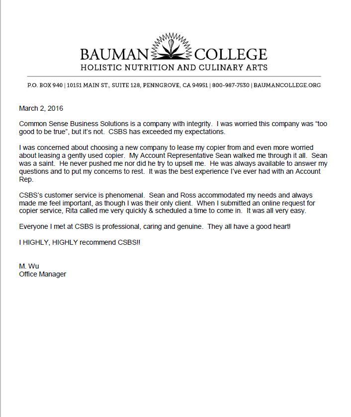 Bauman-College-Copier-Testimonial-Letter