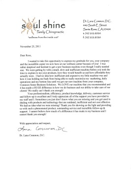 Soul Shine Chiropractic Testimonial Letter