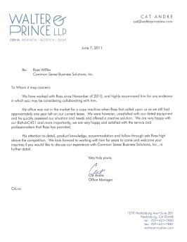 Walter & Prince Reference Letter