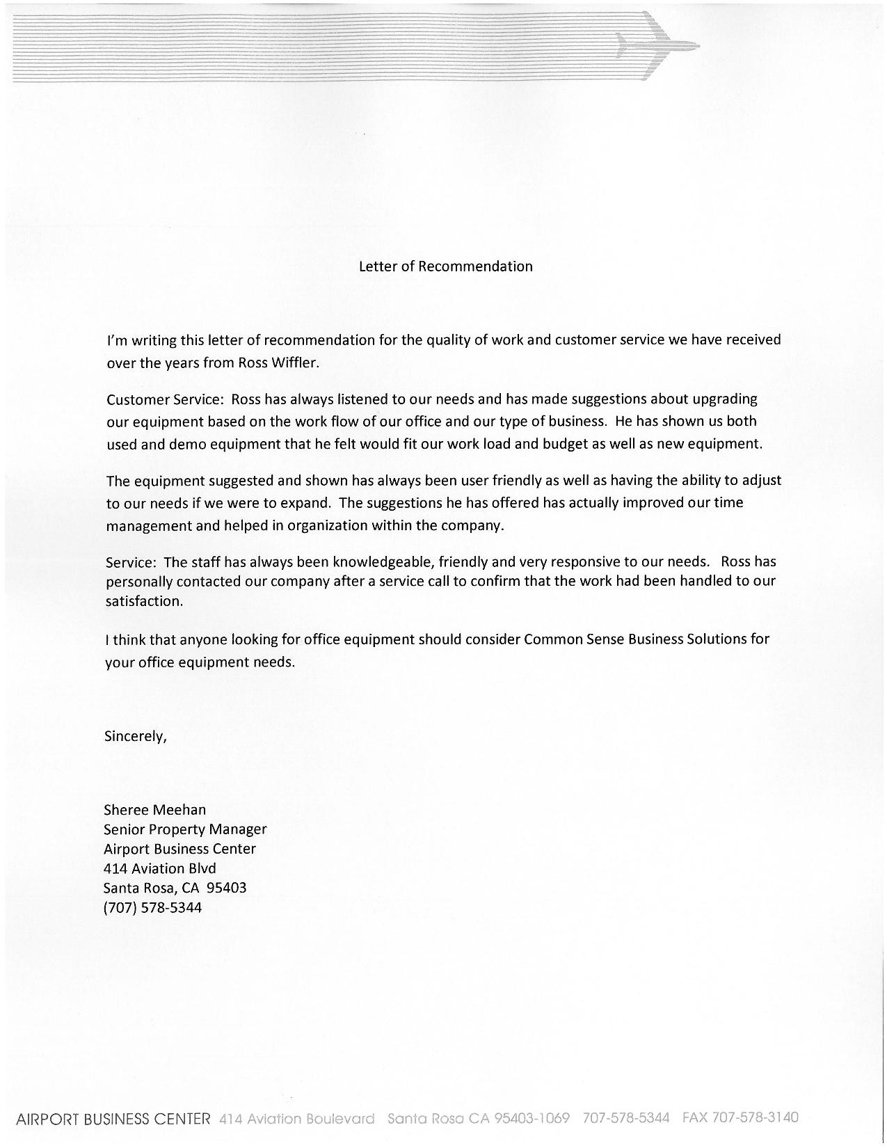 airport business center testimonial letter