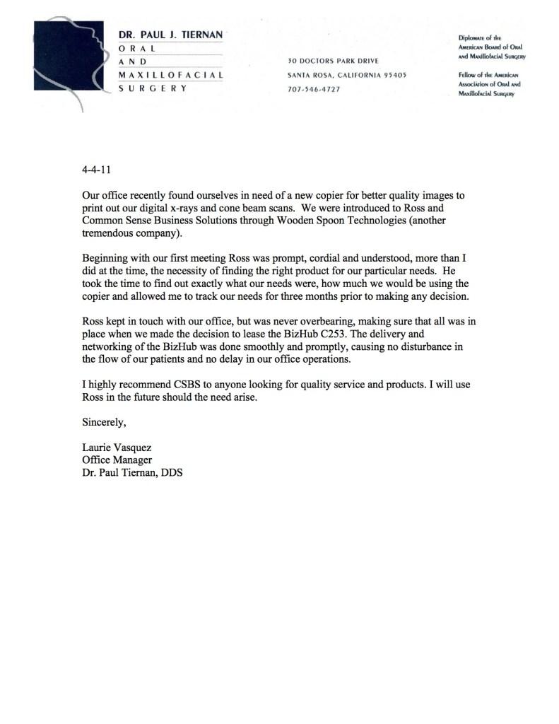paul j tiernan testimonial letter
