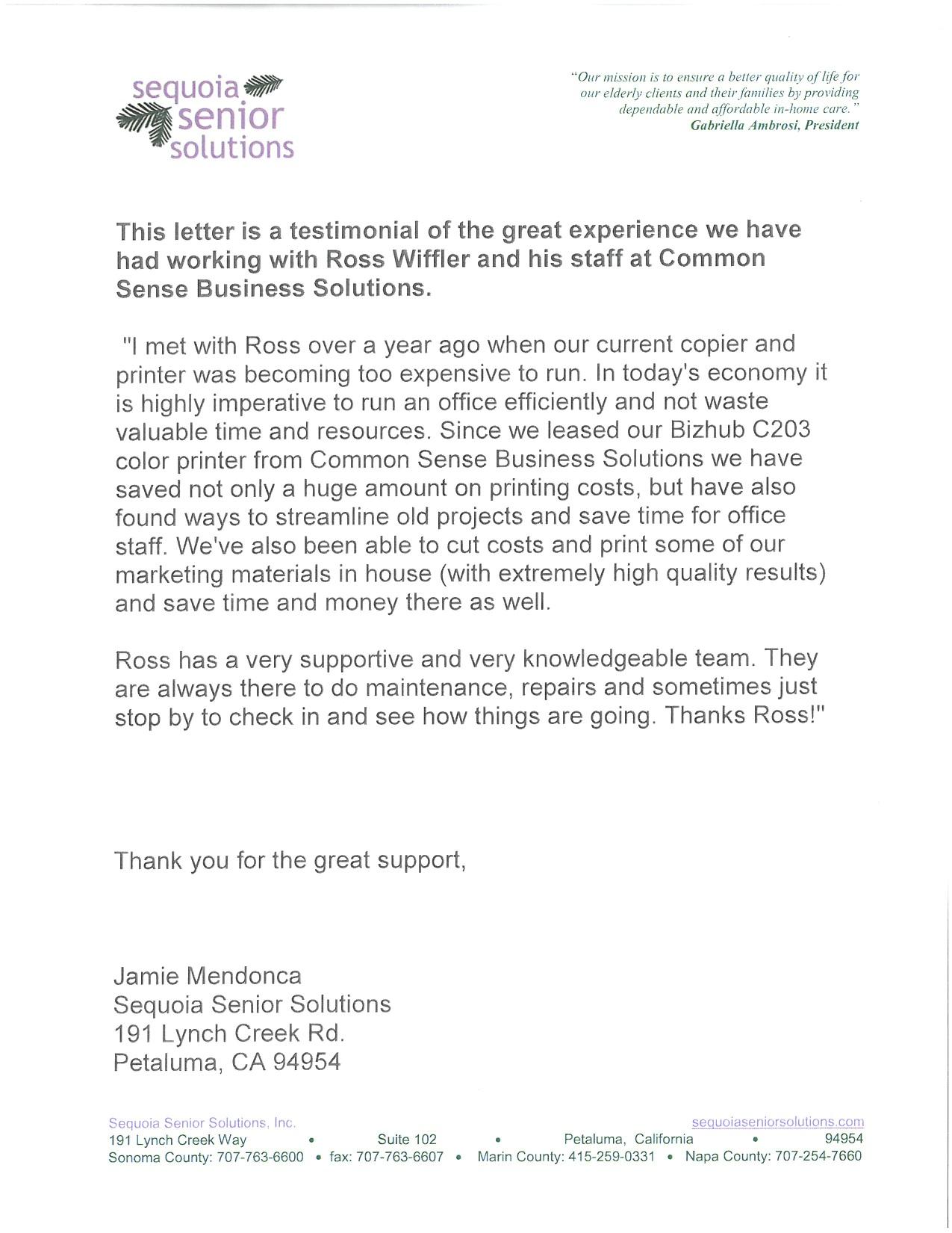 sequoia senior solutions testimonial letter