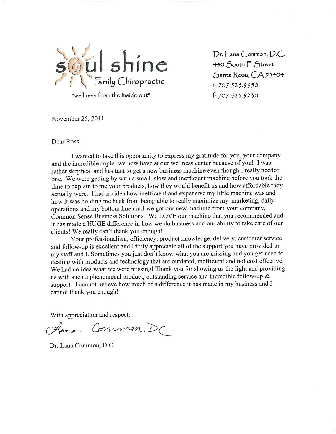 soul shine testimonial letters