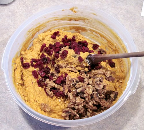 pumpkin oatmeal cookie dough with nuts and cherries