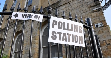 A sign to a polling station