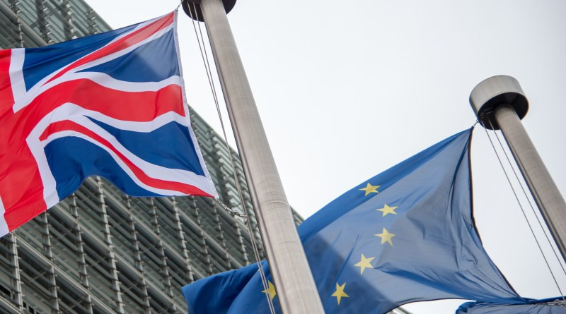 UK and EU Flags flying side by side