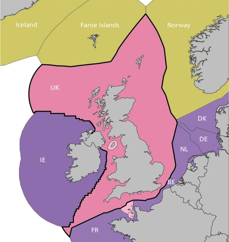 Map of the UK's exclusive fishing zone