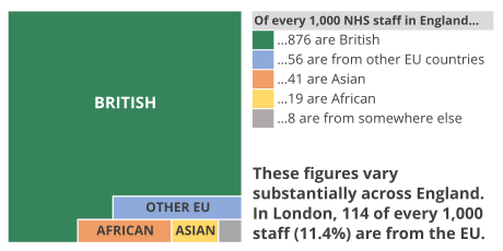 Chart showing that of every 1000 NHS staff in England 876 are British, 56 are from other EU countries, 41 are Asian, 19 are African and 8 are from somewhere else. These figures vary substantially across England. In London, 114 of every 1000 staff (11.4%) are from the EU.