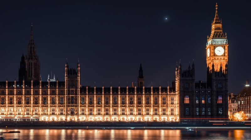 An image of the Palace of Westminster at night
