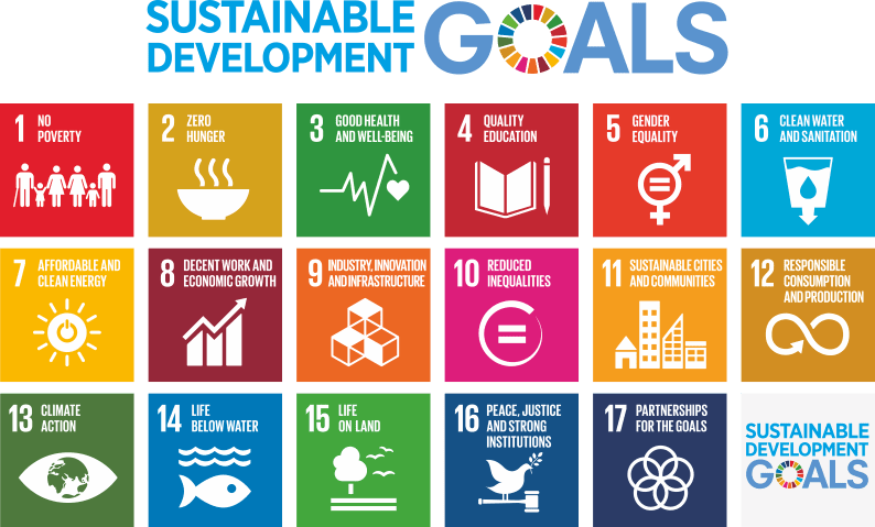 The Sustainable Development Goals. 1. No poverty. 2. Zero hunger. 3. Good health and well-being. 4. Quality education. 5. Gender equality. 6. Clean water and sanitation. 7. Affordable and clean energy. 8. Decent work and economic growth. 9. Industry, innovation and infrastructure. 10. Reduced inequalities. 11. Sustainable cities and communities. 12. Responsible consumption and production. 13. Climate action. 14. Life below water. 15. Life on land. 16. Peace, justice and strong institutions. 17. Partnerships for the goals.