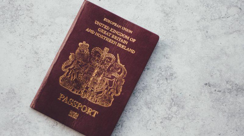 A burgundy UK passsport