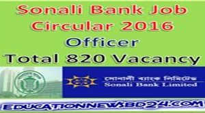 Sonali Bank Job Circular 2016 Officer