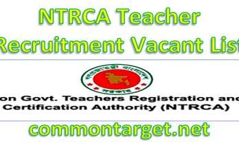 NTRCA Teacher Recruitment Vacant List 2020