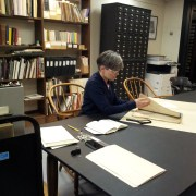 Artist-in-residence Teresa Jaynes researching in the Print Department, January 2015.