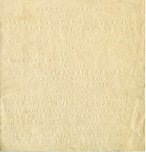 Braille-Grade One. United States, ca. 1917.