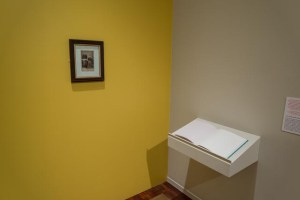 Picture shows a yellow painted wall on which only a wooden frame with a late 19th-century black and white cabinet card portrait hangs in the center. The portrait shows a couple. To the lower right is an open book of white pages, Jayne's Gift #7, resting on a pedestal that juts from an off-white painted wall.