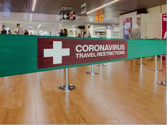 Warning of travel restriction in airport stock