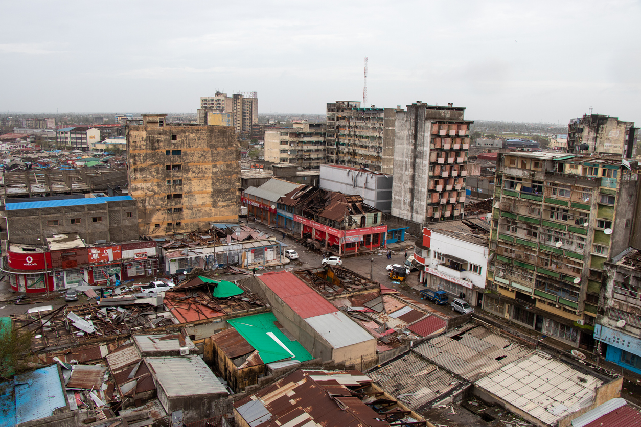 Partial view in the city centre In the morning after the passage of the strong Cyclone Idai, the trail of destruction left in Beira City was very visible. The roofs were simply pulled out, nothing was the same! Cyclone Idai crossed Mozambique.