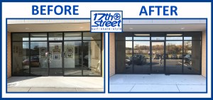 17th st surf shop before and after, commercial window tinting before and after