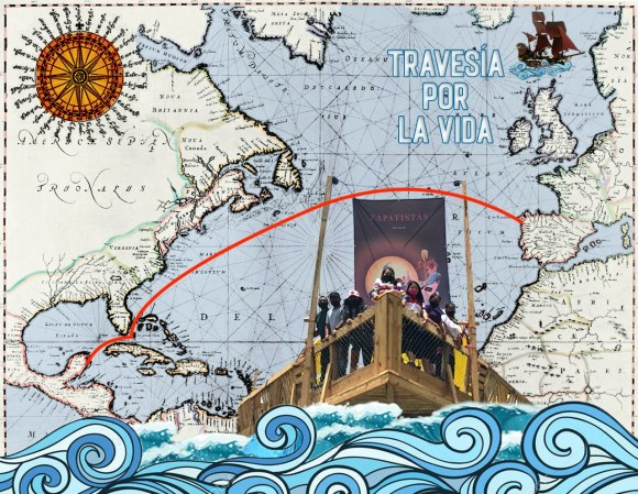 Carte du voyage zapatiste vers l'Europe