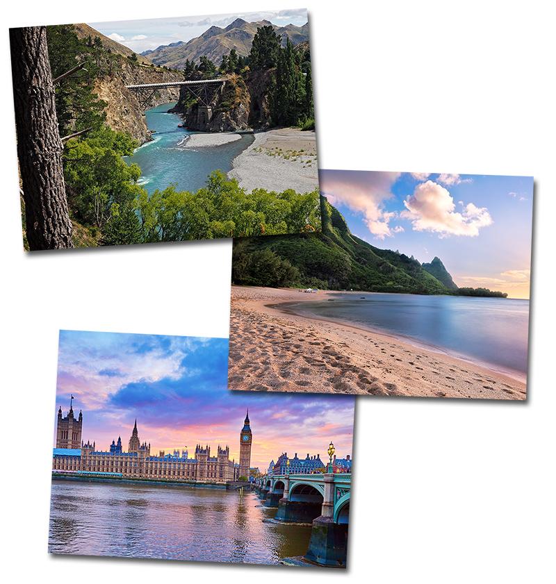 New Zealand, Hawaii and England