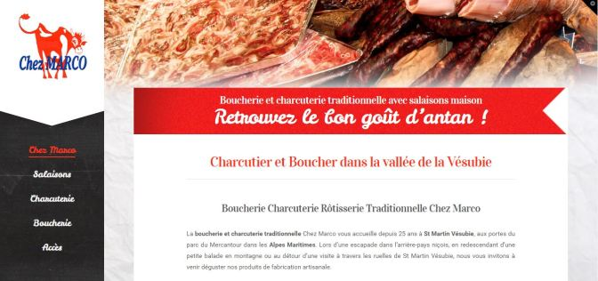 Site Vitrine Boucherie Chez Marco - Saint Martin Vésubie - Alpes Maritimes