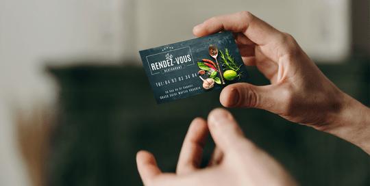 Création de cartes de visite pour le restaurant LE RENDEZ VOUS à Saint Martin Vésubie