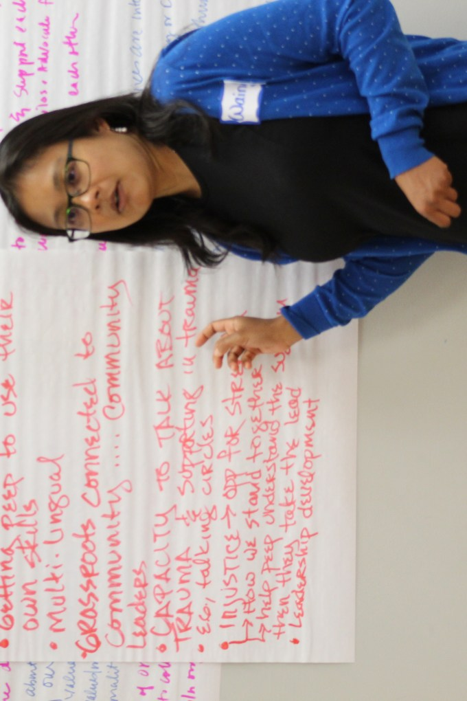 Facilitator in front of flip chart paper for social justice training