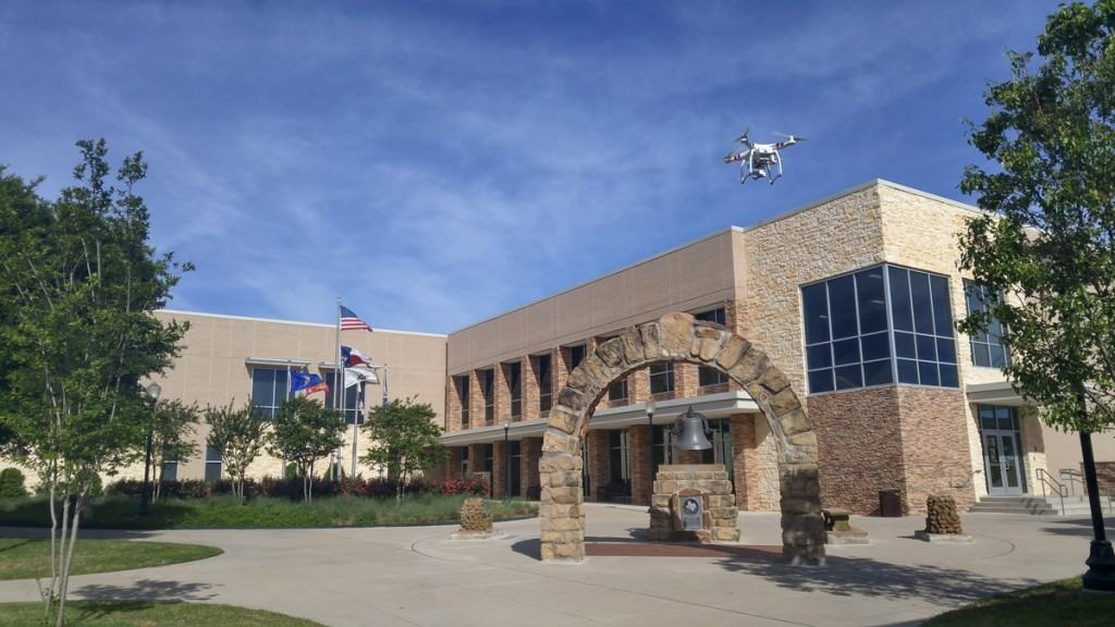 Weatherford College's new drone is shown in flight.
