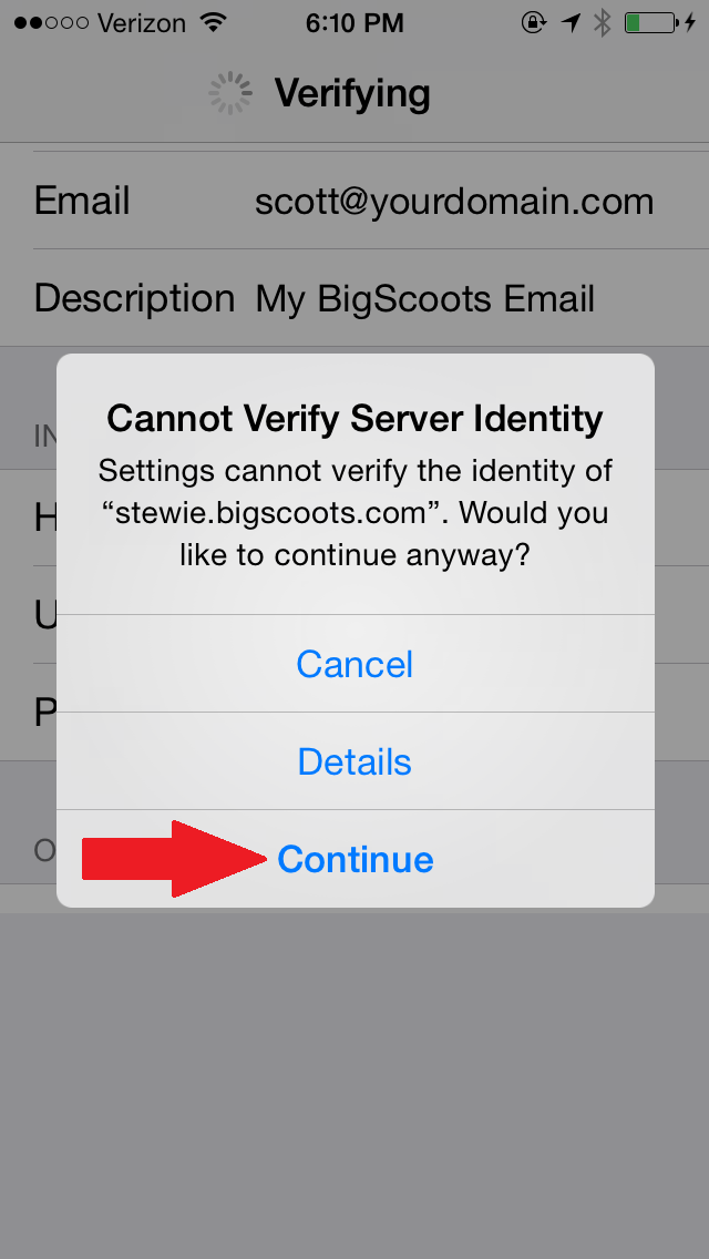 Configure mail APP on iPhone to work with BigScoots email