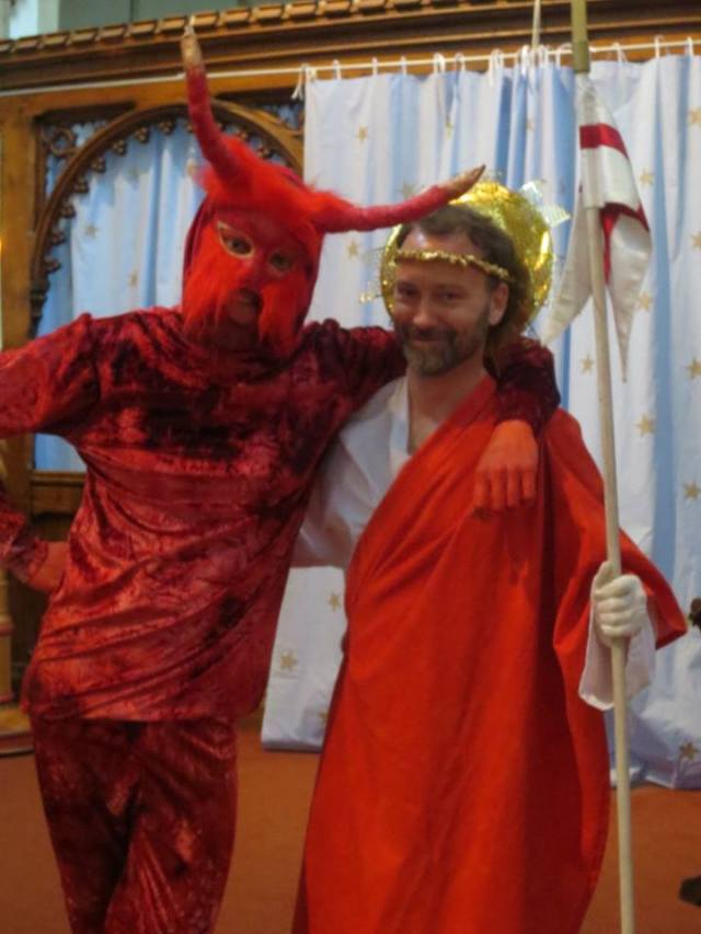 From the 'Lindisfarne' Anglo-Saxon Harrowing of Hell play (dir. John McKinnell). Satan: Gasper Jakovac, Christus: Mark Chambers. Photos by Larissa Kat Tracy, St. Oswald's Church, Durham, Friday 8 July, 2016.