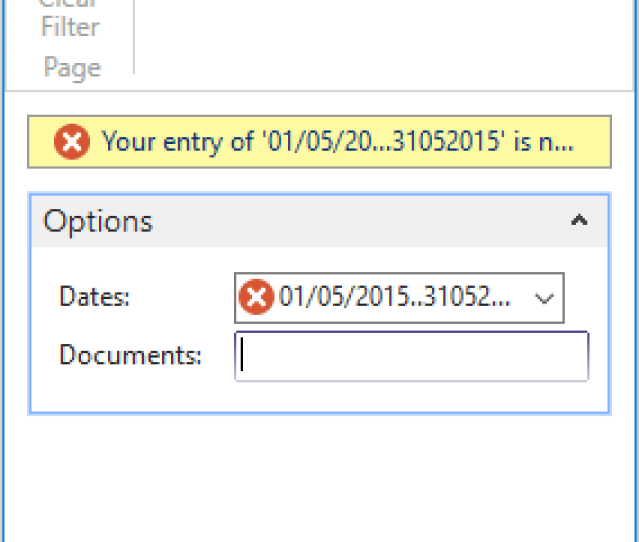 As You Can See In The Picture Above Im Trying To Type The Dates In Range Like 01052015 31052015 To Only Request One Input From The User