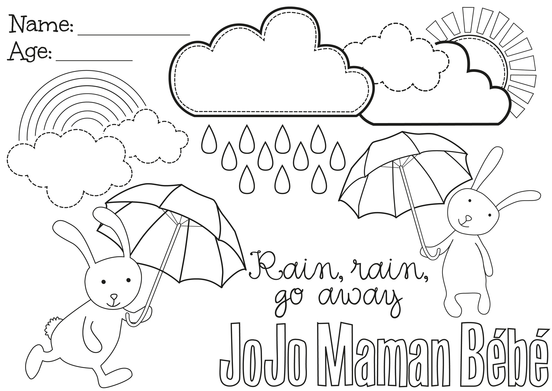 Rain Rain Go Away Coloring Page Coloring Pages