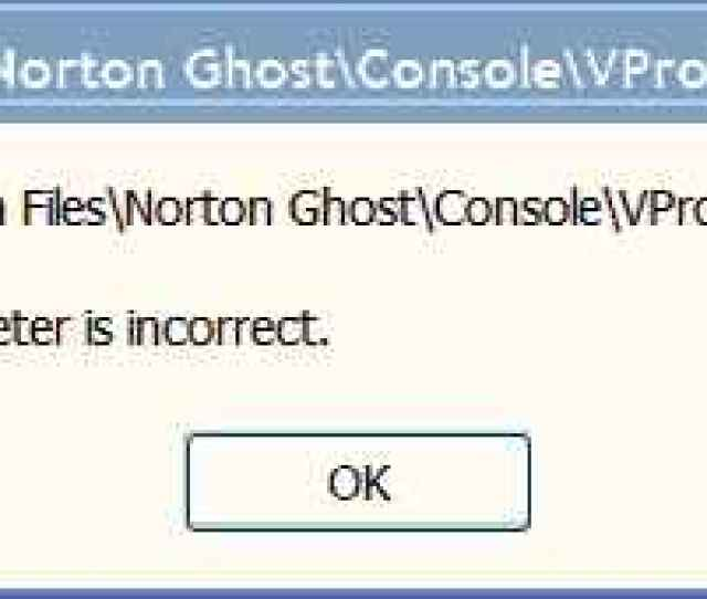Norton Ghost 14 Fails To Install The Parameter Is Incorrect