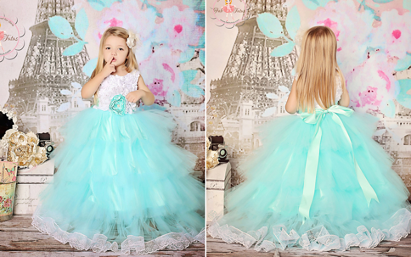 So Fluffy! TIffany Blue X White Tulle Flower Girl Dress