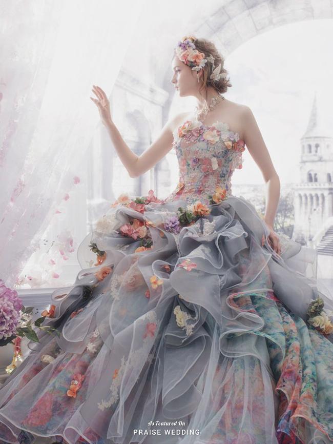 Stella De Libero Presents This Unique Gray Gown Featuring