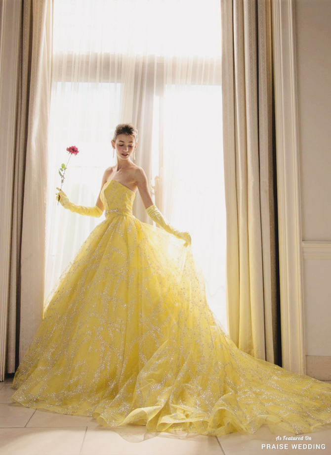 This Belle Inspired Yellow Gown From Kiyoko Hata Featuring