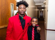 """Waterbury NAACP Youth Council president Amari Brantley, 17, and Jabari Hendricks, 9, the youngest member of the Waterbury NAACP Youth Council, at the """"Men with a Purpose"""" luncheon, a Dr. Martin Luther King, Jr. event celebrating men, at Grace Baptist Church in Waterbury. The event was sponsored by the Waterbury NAACP Youth Council. Jim Shannon Republican-American"""