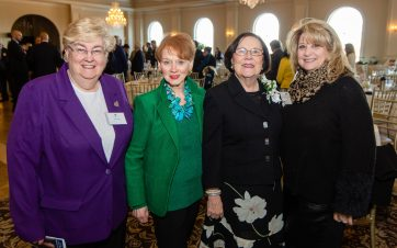 PROSPECT, CT-012120JS04- Eileen Lynch. Beverly Bucari, Virginia O'Rourke Cookson, owner of O'Rourke & Birch Florist in Waterbury and Entrepreneur of the Year, and Maureen Torrence at the 23rd Annual Harold Webster Smith Awards breakfast at Aria Wedding & Banquet Facility in Prospect. The event was hosted by the Waterbury Regional Chamber. Jim Shannon Republican-American