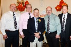 Dr. Ferdinando Urbano, Dr. Robert McDonald, Dr. Carl Sherter, Dr. Richard Silberman and Dr. David Hill, all from Waterbury Hospital, at a retirement party in honor of Dr. Sherter at Aria Banquet Facility in Prospect. The party, hosted by Waterbury Pulmonary, brought together 150 colleagues to honor Dr. Sherter for 52 years of service to the medical community.Jim Shannon Republican-American