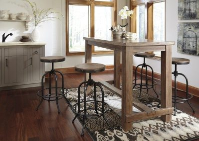 5 Piece Rustic Casual Bar Table and Swivel Barstools - Light Brown