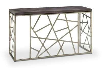 Random Geometric Pattern Wood Top Sofa Table
