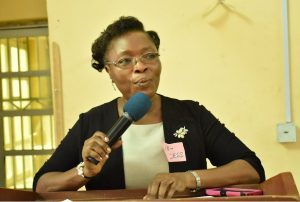 Director of SIWES, Prof. Grace Sokoya delivering her Opening Remarks at the Training