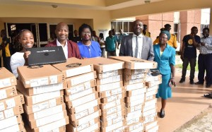 Easy Does It when God is involved: The Vice-Chancellor, Professor Kolawole Salako (2nd Right) beaming with smile while savouring with his Deputies Prof. Lateef Sanni, Development 2nd and 3rd Prof. Morenike Dipeolu, Academic left the delivery of 110 Units of Laptop donated to the University by the Nigerian Communication Commission (NCC).