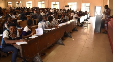 A cross-section of FUNAAB Students receiving lecture on resumption from strike.